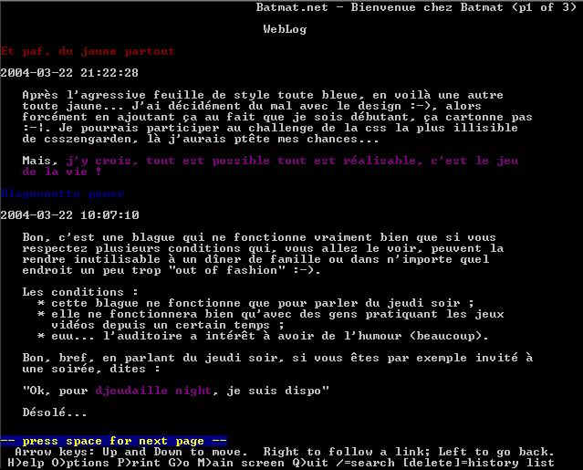 Capture d'écran d'une fenêtre du navigateur lynx ouverte dans cygwin